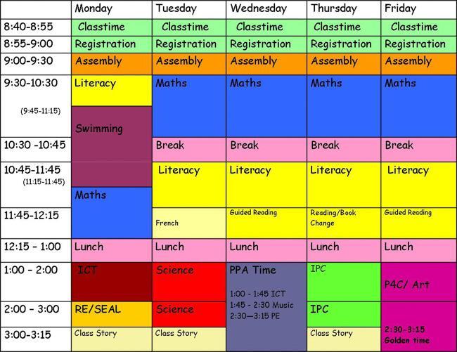 英国小学课程表