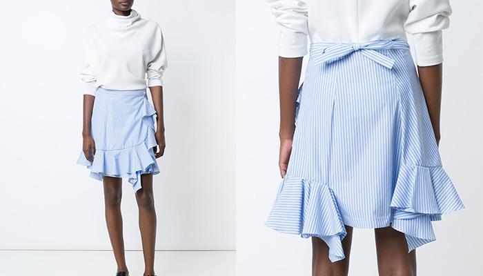 J.W.ANDERSON Ruffled Hem Striped Skirt