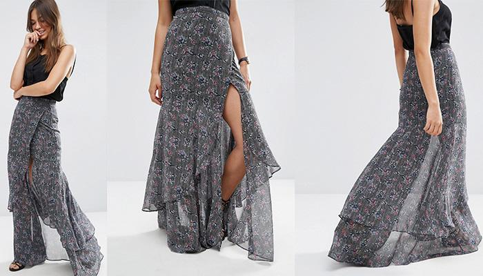 ASOS Maxi Skirt With Ruffle Tiered Hem and Splice