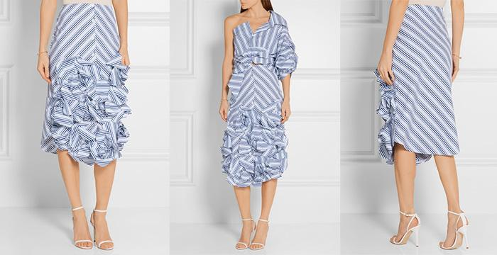 JOHANNA ORTIZ Emma Ruffled Striped Cotton-Poplin Midi Skirt