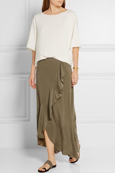 Share it! Theory Lorsinie Ruffle Silk Maxi Skirt