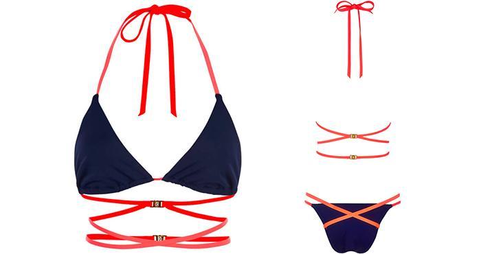 L'Agent by Agent Provocateur Women's Eleena Bikini Top - Navy/Melon