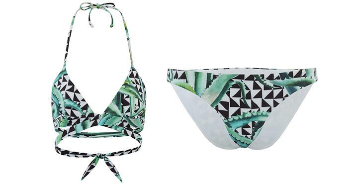 Mara Hoffman Women's Reversible Wrap Around Triangle Bikini Top - Aloe Black