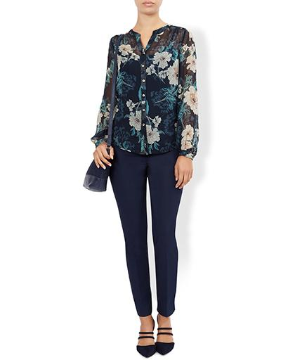Heather Print Silk Blouse