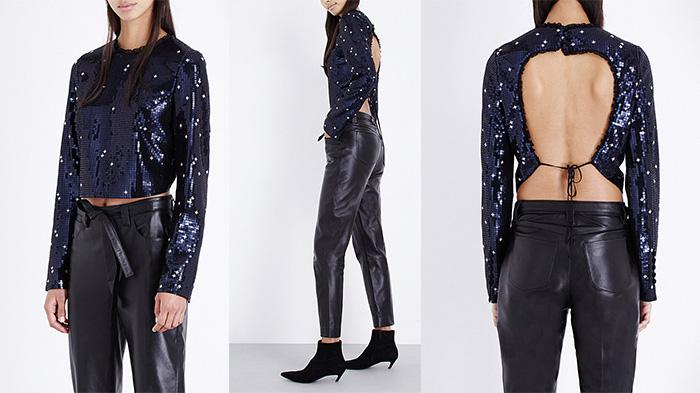 Topshop Unique Sequin-embellished Cropped Top