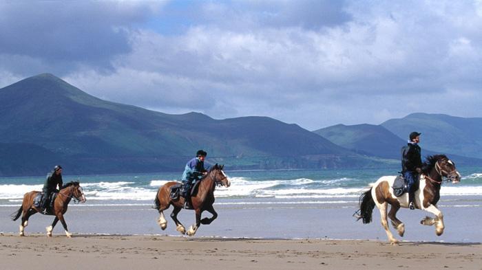 在凯里郡的海边骑马