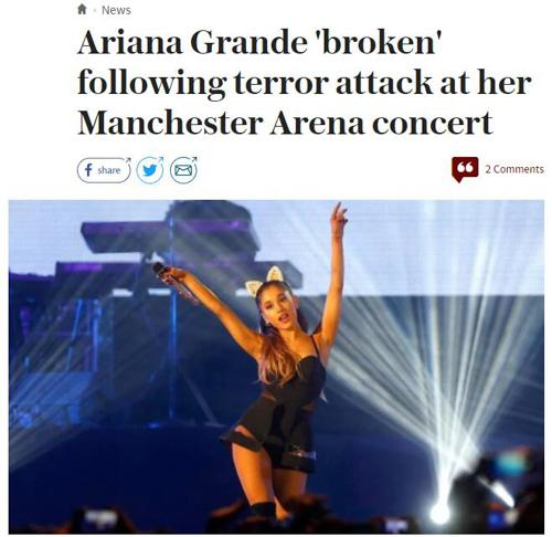 5.22英国曼彻斯特爱丽安娜·格兰德(Ariana Grange)演唱会遭恐怖袭击