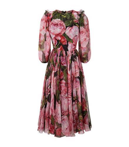 Dolce & Gabbana Rose Print Midi Dress(杜嘉班纳玫瑰印花中长连衣裙)