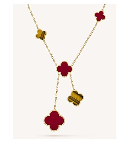 Magic Alhambra Gold, Carnelian and Tiger's Eye Necklace(虎眼石+红玉髓四叶草项链)