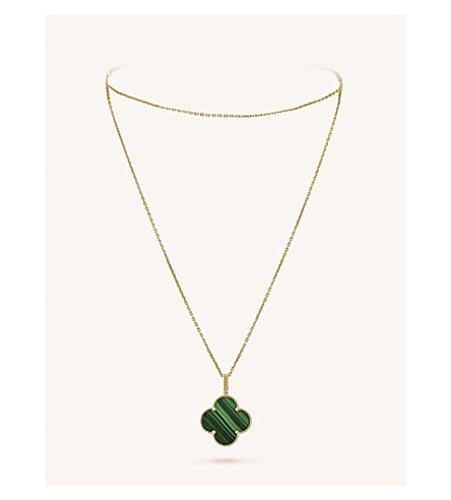 Magic Alhambra Gold and Malachite Necklace(孔雀石大号四叶草项链)