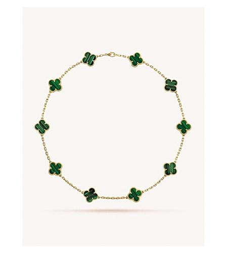 Vintage Alhambra Gold and Malachite Necklace(孔雀石十花四叶草项链)