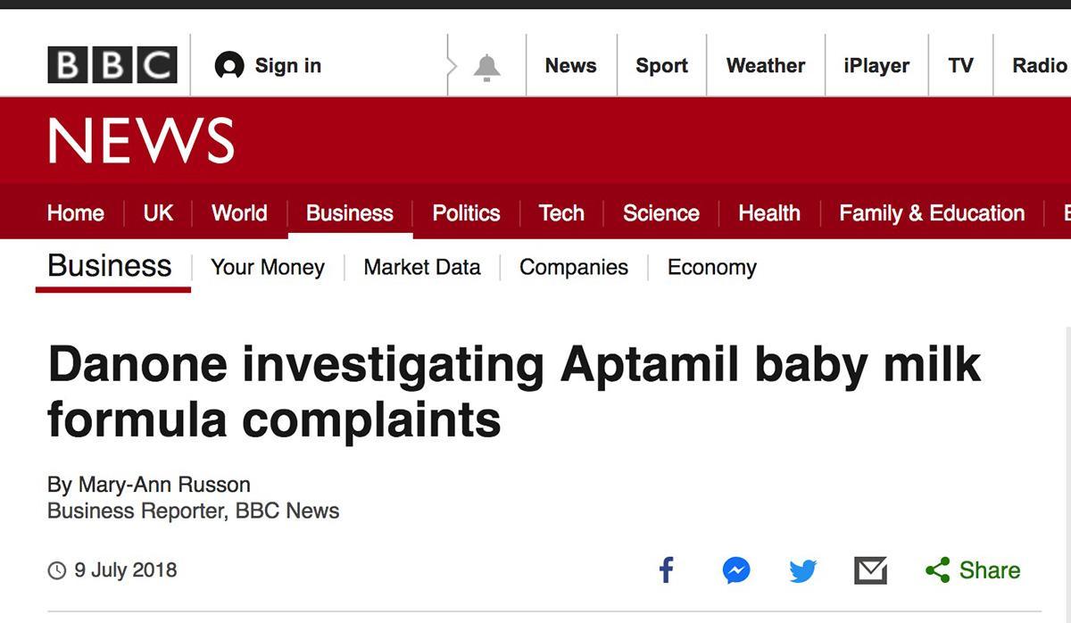 英国BBC对爱他美新配方奶粉的报道