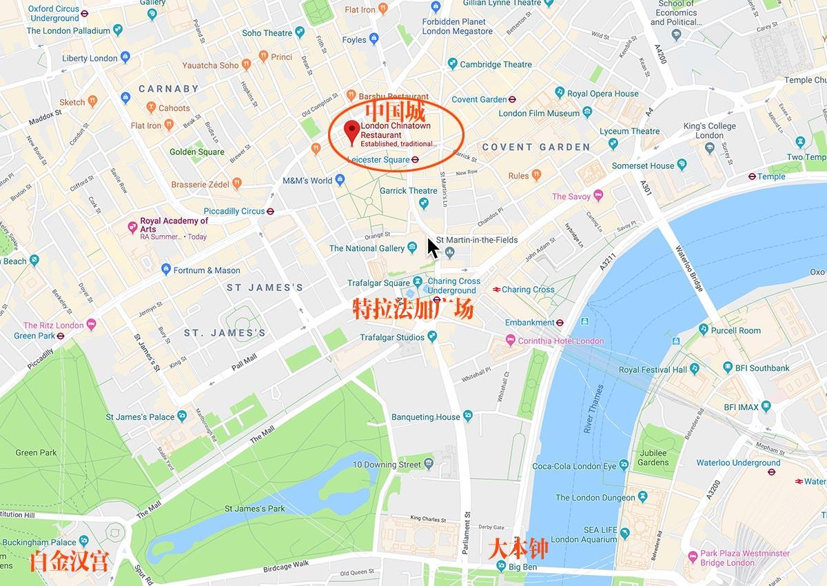 伦敦中国城地图