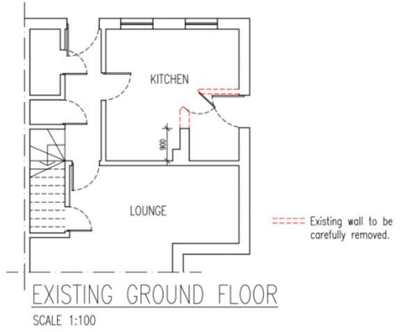 Architect设计图,红色虚线是需要敲掉的墙
