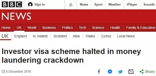 BBC:为打击洗钱,Tier 1投资移民签证被叫停
