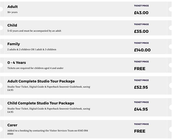 Warner Bros. Studio Tour London 2018 票价