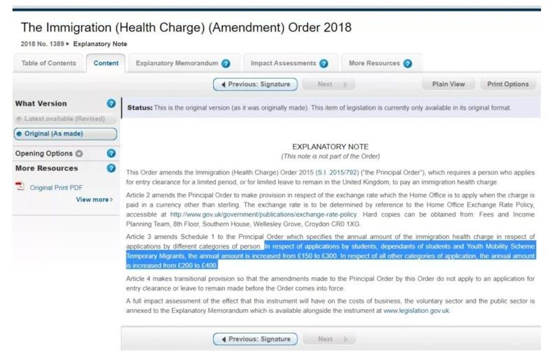 The Immigration (Health Charge) (Amendment) Order 2018
